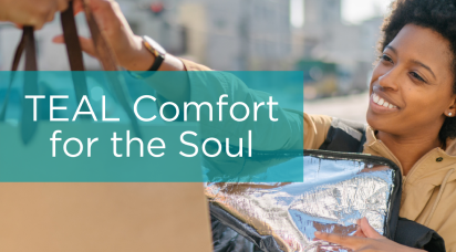 Teal Comfort for the Soul with Black female and a food delivery