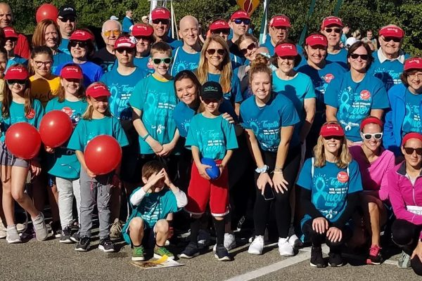 Large group of kids and adults participating in Agnes's Angels for ovarian cancer awareness