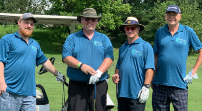 Four male golfers raising funds for National Ovarian Cancer Coalition