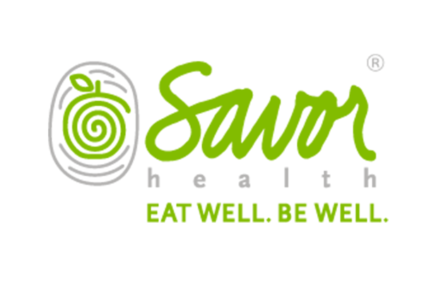 Savor Health logo, eat well be well